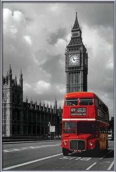 London red bus Målning på trä