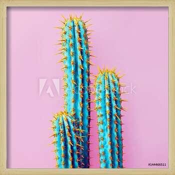 Set Neon Cactus. Minimal creative stillife Inramad poster
