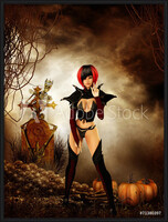 Goth girl in cemetary on halloween night Inramad poster