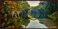 Amazing place in Germany - Rakotzbrucke also known as Devils Bridge in Kromlau Inramad poster