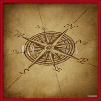 Compass rose in perspective with grunge texture Inramad poster