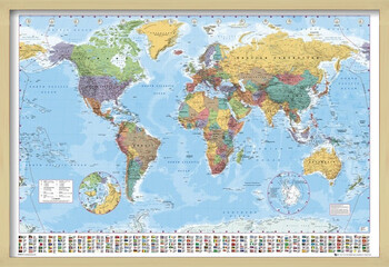 Inramad poster World Map - Political