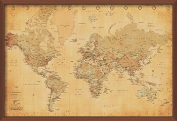 Inramad poster World Map - Antique Style