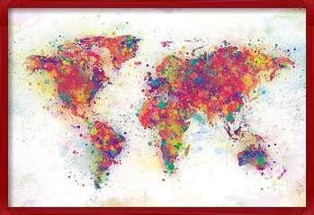 Inramad poster World Map - Colour Splash