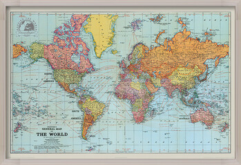 Inramad poster Stanfords General Map Of The World - Colour