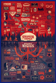 Inramad poster Stranger Things - The Upside Down