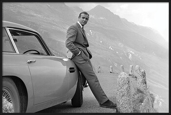 Inramad poster James Bond - Connery & Aston Martin