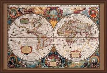 Inramad poster World Map - 17th Century