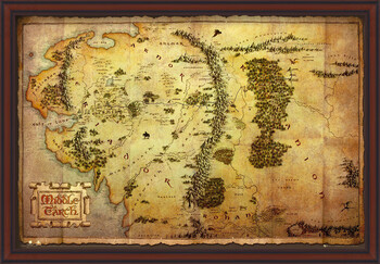 Inramad poster The Hobbit - Middle Earth Map