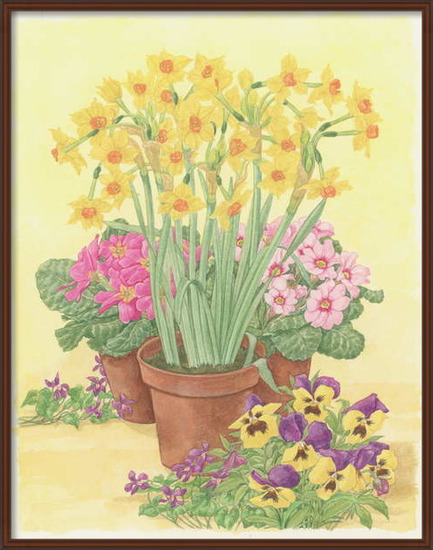 Konsttryck Pots of Spring Flowers, 2003